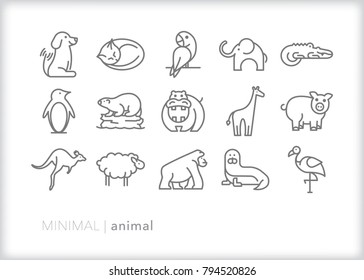 Set of 15 minimal animal icons of common zoo, pet and toy creatures including dog, cat, elephant, alligator, penguin, hippo, pig, giraffe, sheep, ape, seal, flamingo and kangaroo