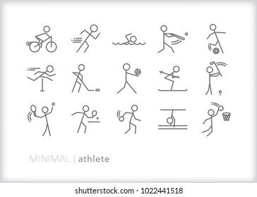 Set of 15 minimal athlete icons of men or women figures in the heat of sport competition throwing a ball, swinging a bat, running, cycling, swimming, and kicking