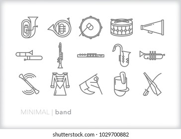 Set of 15 minimal band icons for marching, concert or school band including wind and brass instruments, percussion, color guard, majorette and baton