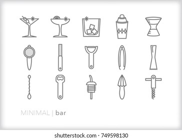 Set of 15 minimal bar tool icons for the bartender or home mixologist crafting cocktails and drinks with items such as strainer, micro planer, peeler, tongs, muddler, stirrer and shaker