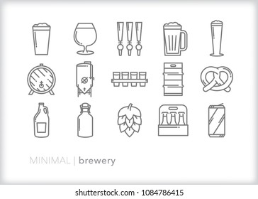 Set of 15 minimal brewery icons including items for the process or making and serving beer including pretzel snack, draft pull, keg, growler, hops, glasses and cans