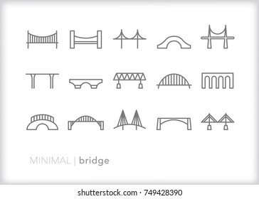 Set of 15 minimal bridge line icons showing steel, metal, wood and brick arching over rivers, streams and water to allow cars, trains and pedestrians to cross safely to the other side of the road