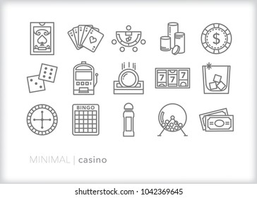 Set of 15 minimal casino and gambling icons including cards, slots, chips, dice, cocktail drink, bingo, and cash