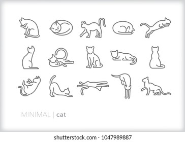 Set of 15 minimal cat icons of adult and kitten felines in various positions of sitting, laying, sleeping, playing, jumping and cleaning