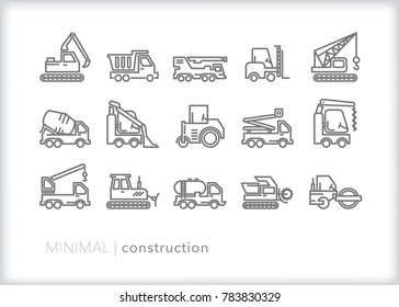 Set of 15 minimal construction vehicle icons for building, hauling, demolition and moving including crane, forklift, tanker, bulldozer, dump truck, and excavator