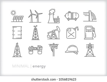Set of 15 minimal energy icons that represent business, technology, infrastructure and equipment for making and distributing gas, hydro, electric, propane, solar and wind energy to consumers