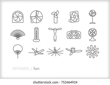 Set of 15 minimal fan icons for cooling off with a breeze of fresh air in the hot summer; includes box fan, personal USB fan, oscillating, ceiling and handheld paper fan
