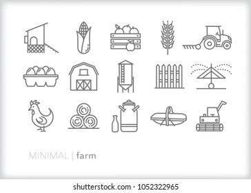 Set of 15 minimal farm icons showing items seen around a rural family farm such as chicken, coop, fence, barn, silo, milk jug, combine, tractor, harvester, sprinkler, eggs and produce