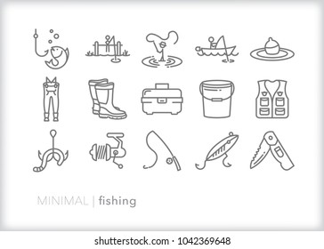 Set of 15 minimal fishing icons of outdoor recreation including line, lure, lake, boat, dock, hook, pole, reel, worm, tackle box and clothing such as waders and a vest
