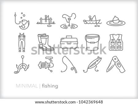 Set 15 Minimal Fishing Icons Outdoor Stock Vector Royalty Free