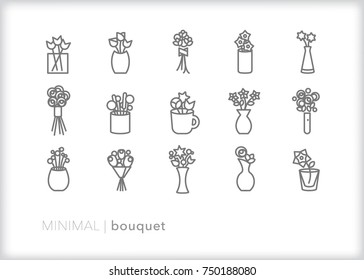 Set of 15 minimal flower bouquet icons for decoration, a wedding, mothers day, or special occasion; includes vases, ribbons, cup and handheld arrangements