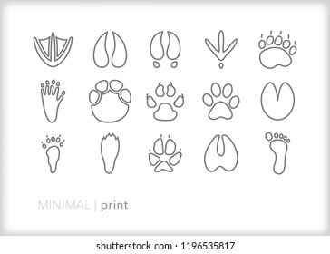 Set of 15 minimal foot and paw print icons showing prints made when various animals walk through mud or sand in nature, including claw and hoof marks