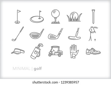 Set of 15 minimal golf icons for sport and recreation including putter, wedge and driver clubs, cart, shoes, visor, hat, tee, ball and a hole on a green