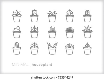 Set of 15 minimal houseplant icons of cactus, succulent, snake plant, leafy plant and blooming plant in a terracotta pot