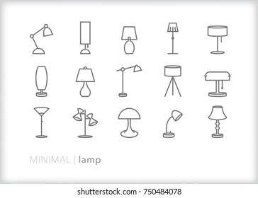 Set of 15 minimal lamp icons for home or office including desk, standing, tripod, retro, shade, adjustable and floor lamps