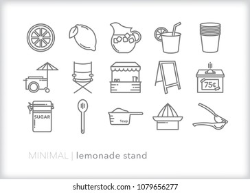 Set of 15 minimal lemonade icons for everything needed to create a neighborhood stand for kids to sell drinks including sugar, juicer, cups, sugar, sign, pitcher and lemons