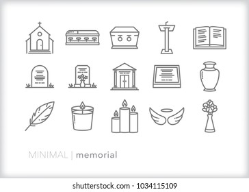 Set of 15 minimal memorial, funeral and remembrance icons representing church, coffin, grave, mausoleum, prayer and farewell