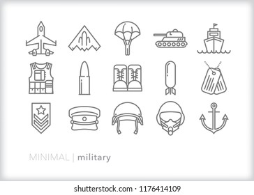 Set of 15 minimal military icons representing the three branches of the armed services including navy, army and air force as well as helmets, weapons and equipment