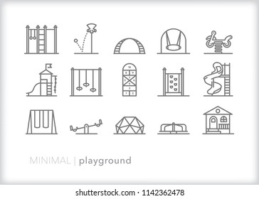Set of 15 minimal playground icons from a school recess yard or neighborhood park with equipment including slide, swings, bars, climbing dome and club house