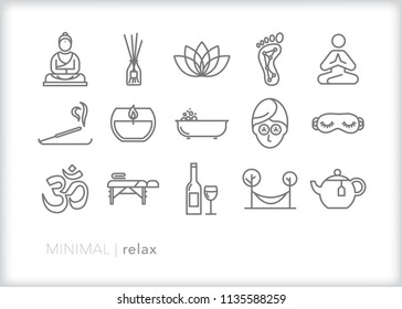 Set of 15 minimal relax icons for unwinding and kicking back including zen, ohm, buddha, lotus flower, massage, candle, incense, bubble bath and other pampering items