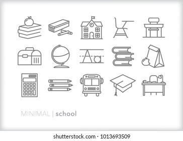 Set of 15 minimal school icons relating to teaching and education including items found in a classroom such as books, chalk, desk, pencil, calculator, globe
