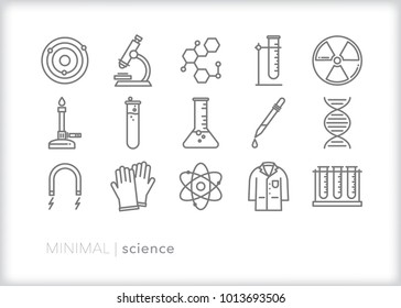 Set of 15 minimal science icons relations to chemistry, biology and research with items commonly found in a lab including test tubes, microscope, beaker, magnet and DNA helix