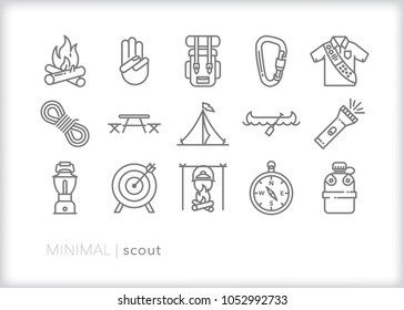 Set of 15 minimal scout icons showing the equipment and activities for hiking, camping and outdoor education including fire, cooking, backpack, tent, canoe, compass, canteen, archery and lantern