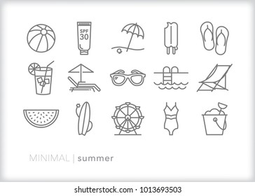 Set of 15 minimal summer icons for hot weather activities including sunglasses, beach and pool items, watermelon, flip flops, popsicle and sand pail