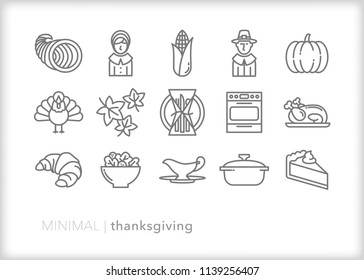 Set of 15 minimal thanksgiving holiday icons celebrating family and American heritage with items such as turkey, pilgrims, bread, salad, pumpkin, pie and cornucopia