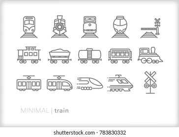 Set of 15 minimal train icons including vintage caboose, coal freight trains, electric commuter trains, railroad crossing signal and high speed rail