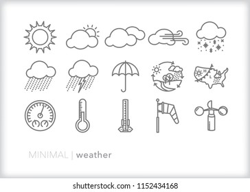 Set of 15 minimal weather icons for predicting forecasts and describing the day's temperature and conditions such as sunny, cloudy, rainy, storming, windy or snow