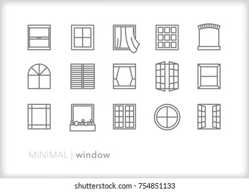 Set of 15 minimal window icons showing a straight view of square, circle and arched windows including glass frames, shutters, planter box, french doors and window frame