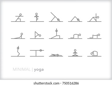 Set of 15 minimal yoga icons of stick figures doing stretch poses including child's, cat, cow, triangle, warrior, tree, cobra, chair and heart center