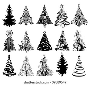 Set of 15 modern christmas trees.