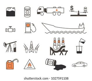 Set of 15 oil production and transportation vector icons
