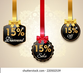 Set of 15% sale and discount golden labels with red bows and ribbons Style Sale Tags Design, 15 off - vector eps10
