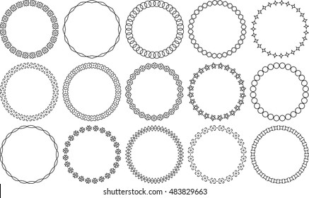 Set of 15 simple round vector frames.