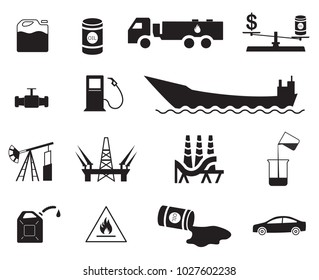 Set of 15 vector oil production and transportation icons