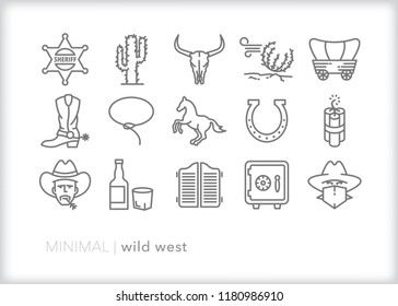 Set of 15 wild west icons of items found in the American desert from the time of cowboys and robbers, the gold rush, saloons and gunslingers