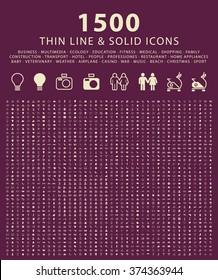 Set of 1500 Minimal Thin Line and Solid Universal Icons. Isolated Vector Icons.