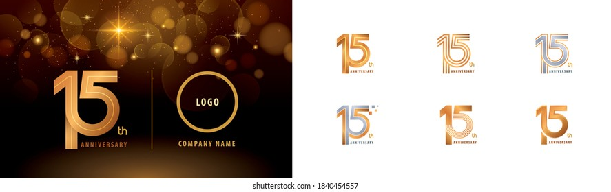 Set of 15th Anniversary logotype design, Fifteen years Celebrate Anniversary Logo multiple line for Congratulation celebration event, invitation, greeting, template, Abstract 15 silver and golden logo