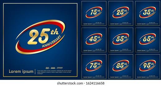 set of 15th-95th anniversary celebration emblem. anniversary elegance golden logo with red ring on blue background, vector illustration template design for web,celebration greeting & invitation card