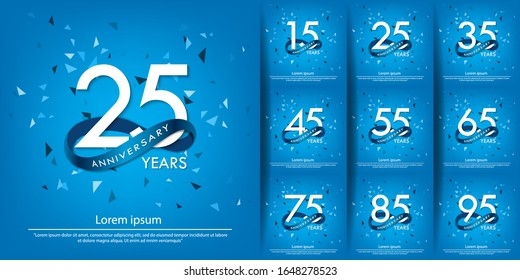 set of 15th-95th anniversary celebration emblem. white anniversary logo isolated with blue circle ribbon. vector illustration template design for web, poster, flyers, greeting card and invitation card