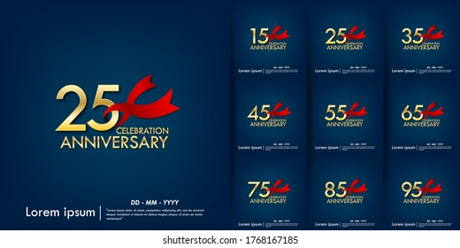 set of 15th-95th anniversary celebration emblem. anniversary elegance golden logo with red ribbon on blue background, template design for web, poster, flyers, greeting card an invitation card