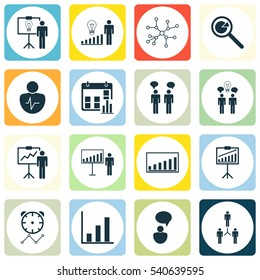 Set Of 16 Administration Icons. Includes Reminder, Bar Chart, Report Demonstration And Other Symbols. Beautiful Design Elements.