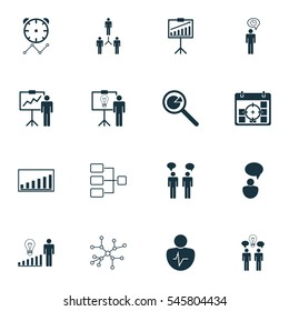 Set Of 16 Administration Icons. Includes Solution Demonstration, Report Demonstration, Company Statistics And Other Symbols. Beautiful Design Elements.
