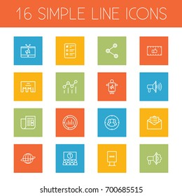 Set Of 16 Advertising Outline Icons Set.Collection Of Client Brief, Campaign, Audience And Other Elements.
