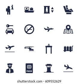 Set Of 16 Airplane Icons Set.Collection Of Lift, Aviator, Passport And Other Elements.