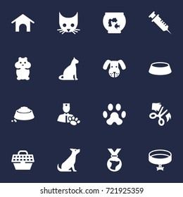 Set Of 16 Animals Icons Set.Collection Of Dog, Cat, Injection And Other Elements.