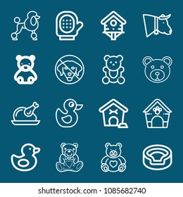 Set of 16 animals outline icons such as pet house, bird house, cow, animal, dog, poodle, dog house, duckling, duck, glove, turkey, lovely teddy bear